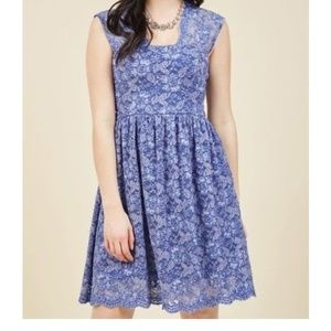 Yellow Star Blue Lace Dress from ModCloth